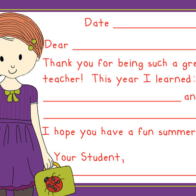 Teacher Thank You Note Cards- School Girl- Set of 5