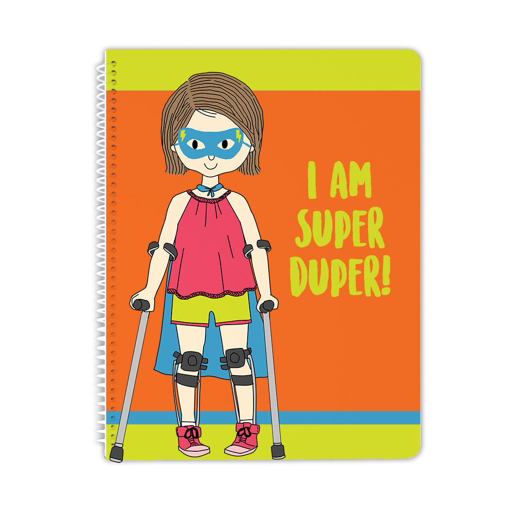 Spiral Notebook - Super Girl With Leg Braces