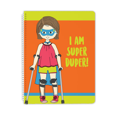 Super Girl With Leg Braces Spiral Notebook - Stacey M Design