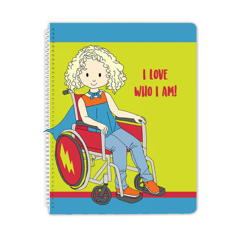 Super Girl in Wheelchair Spiral Notebook - Stacey M Design