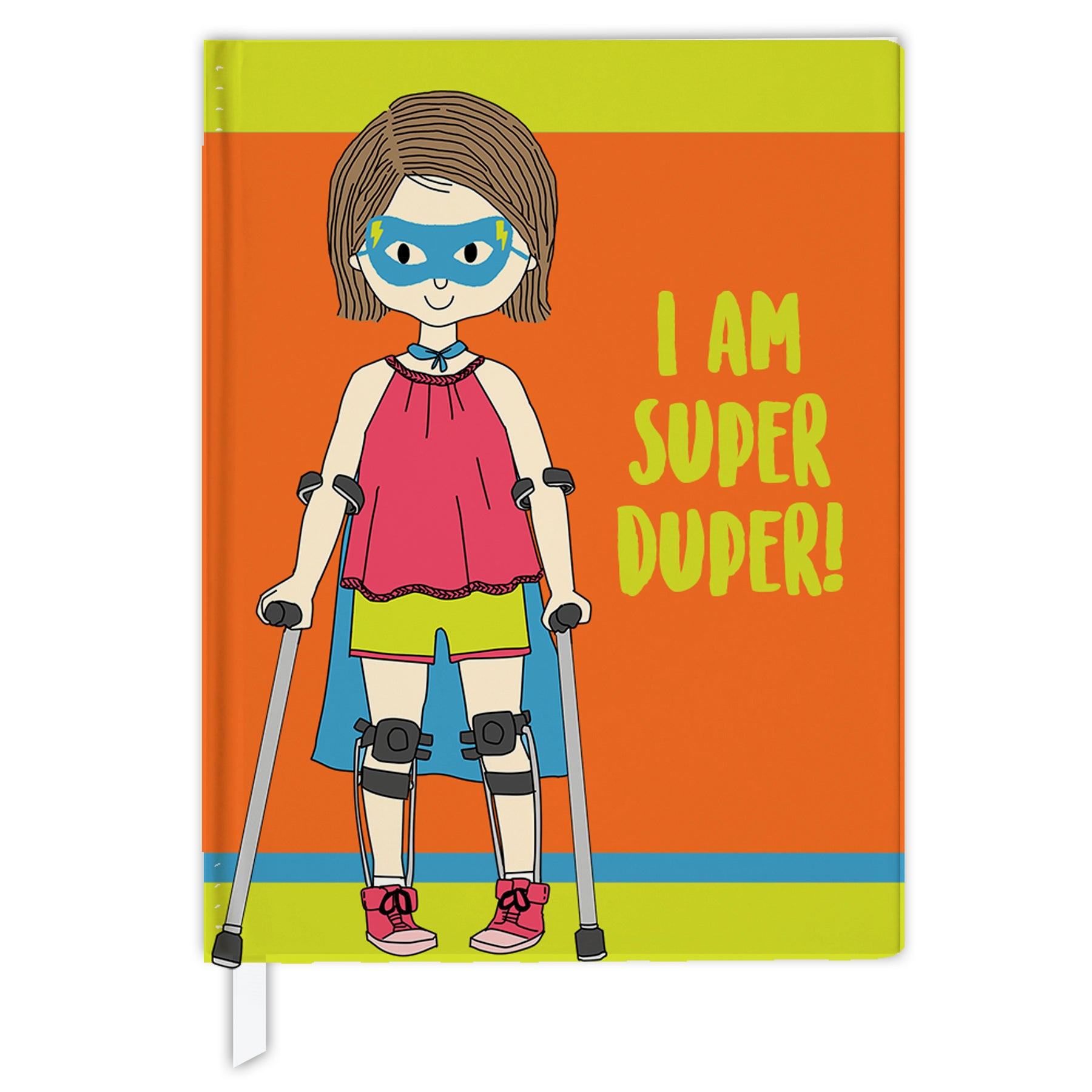 Hard Cover Journal:  Super Hero Girl With Leg Braces