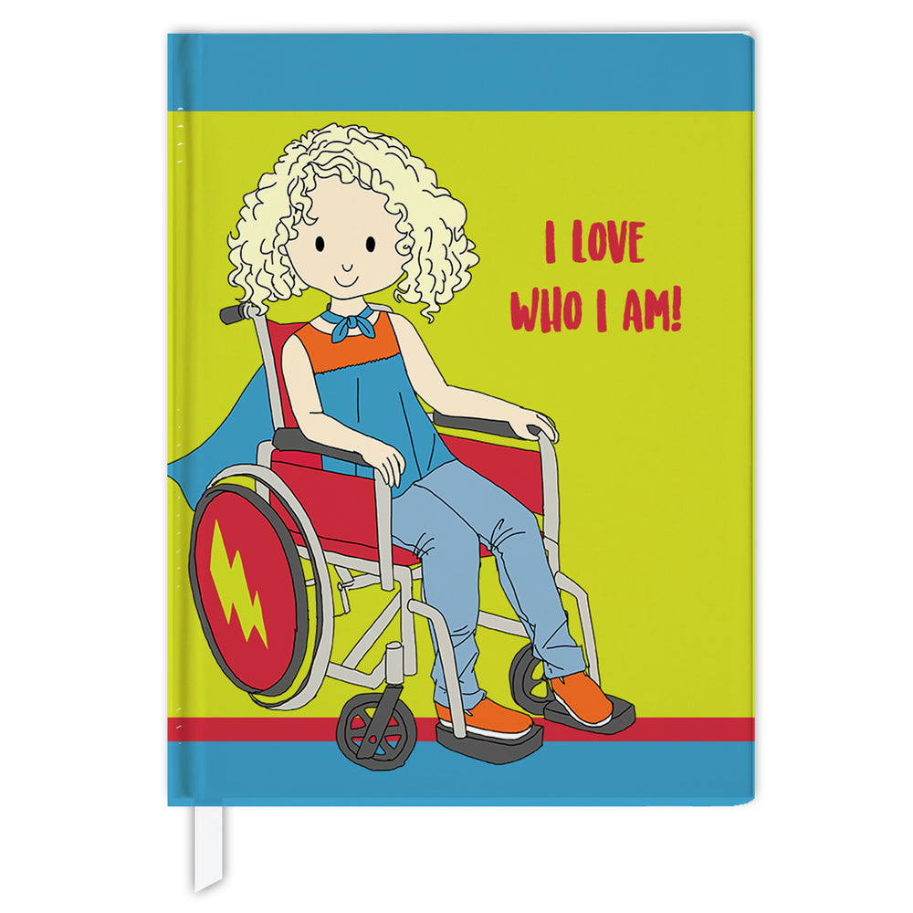 Hard Cover Journal:  Super Hero Girl in Wheelchair