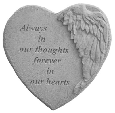 Always in our Thoughts Heart Garden Stone