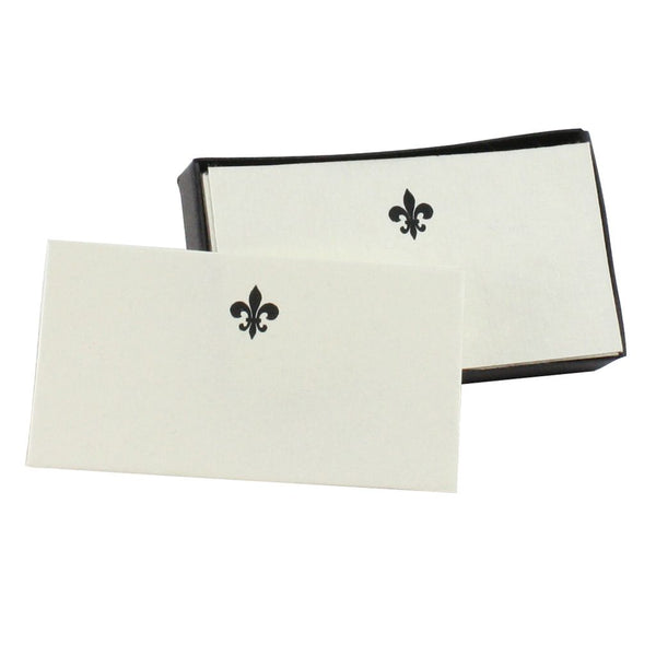 Fleur de Lys Printed Handmade Paper Place Card, Set of 32