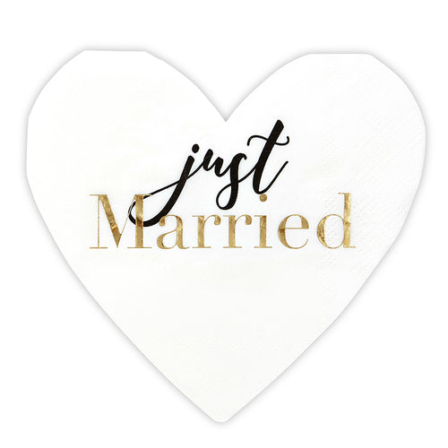 Just Married Heart Paper Napkins