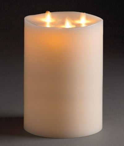 LIGHTLi Moving Flame LED Candles - Ivory 3-Wick