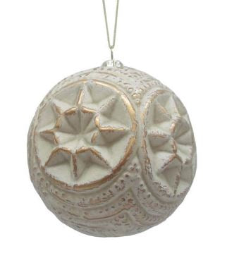 Gold Whitewash Ball Ornament