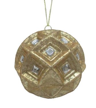 Gold Diagonal Glass Ornament