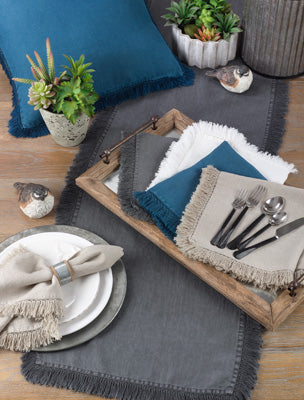 Stonewashed Fringe Table Runner