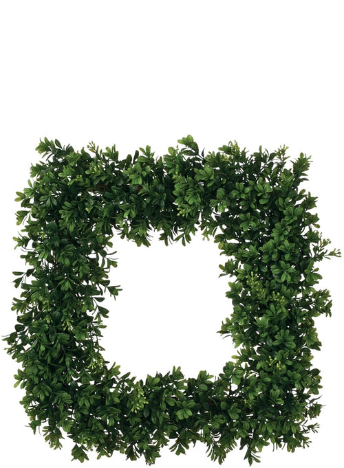Artificial Boxwood Square Wreath - 19""