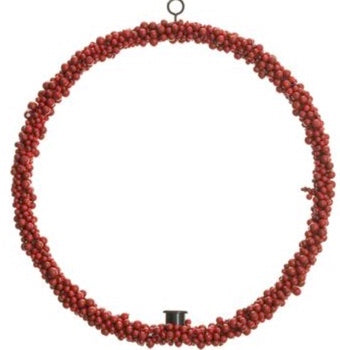 Berry Wreath With Taper Candleholder- 16""