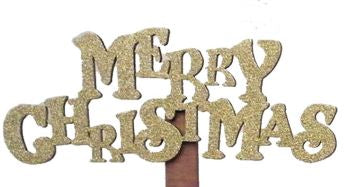 Merry Christmas Wooden Pick