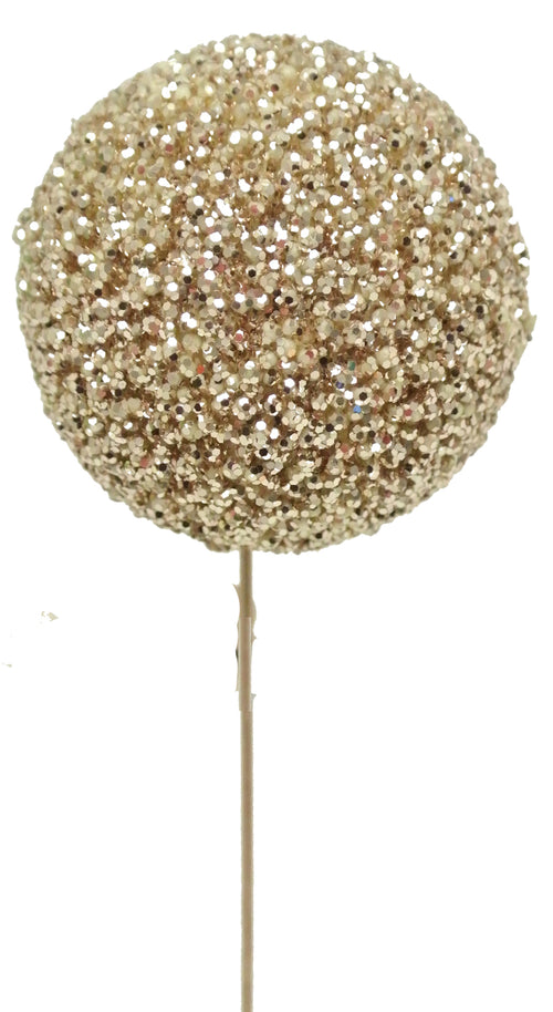 Gold Glitter Ball Pick