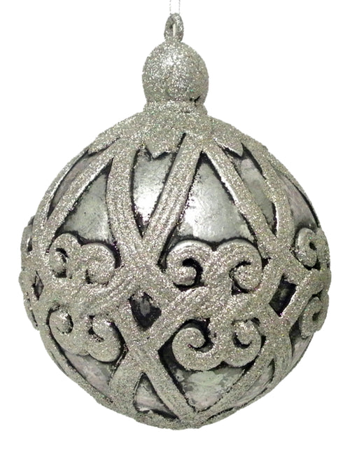 Antique Silver Filagree Ball Ornament