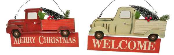 Pick-up Truck Christmas Sign