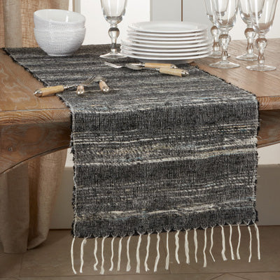 Shades of Black Striped Table Runner