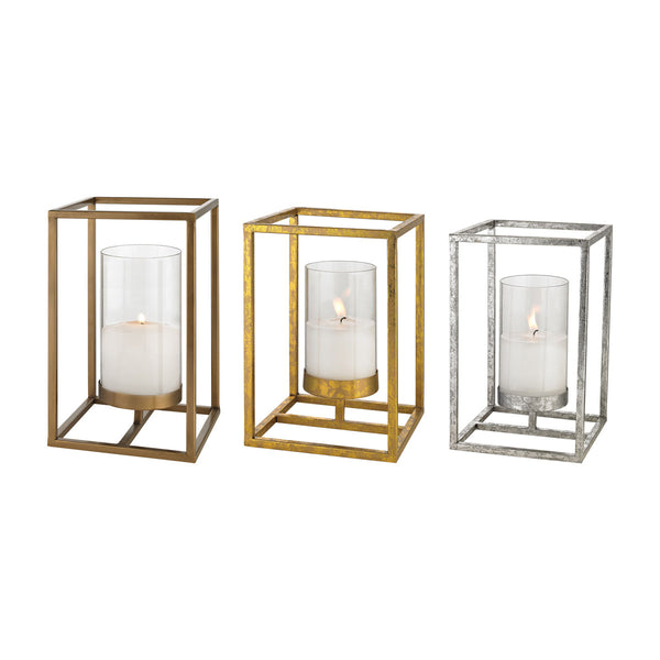 Set of Three Candles Holder in Gold, Silver, Copper Finish