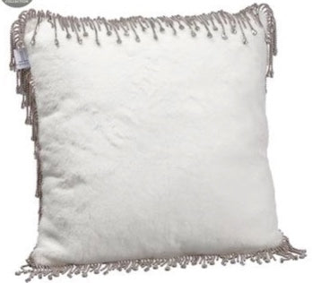 White Fur & Rhinestone Pillow