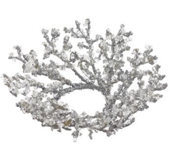 Silver Iced Twig Candle Ring - 3""