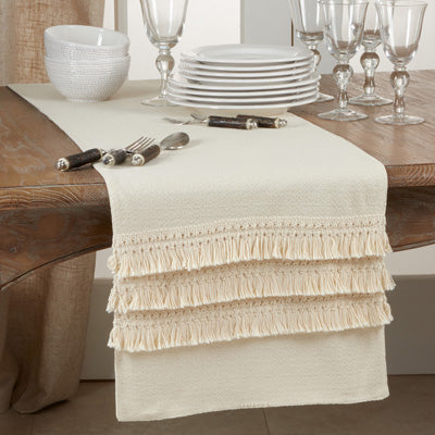 Fringe Lace Applique Table Runner
