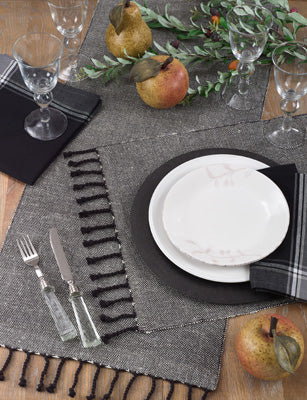 Black & White Jute Table Runner