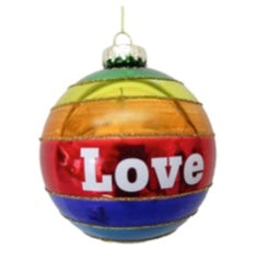 Rainbow Love Glass Ornament