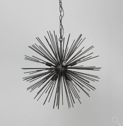 Round Metal Chandelier with Crystals