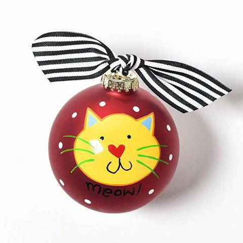 Meow Cat Glass Ornament