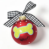 Woof! Dog Bone Glass Ornament