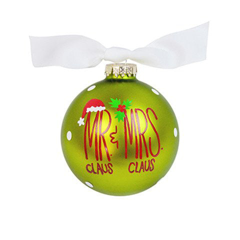 Mr. & Mrs. Claus Glass Ornament