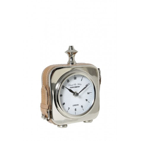 Nickel & Tan Leather Table Top Clock