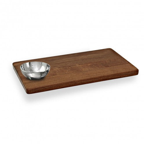 Wood Cutting Board with Round Bowl