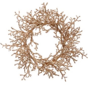 Gold Iced Twig Wreath - 24""