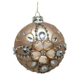 Embellished Matte Gold Ball Ornament