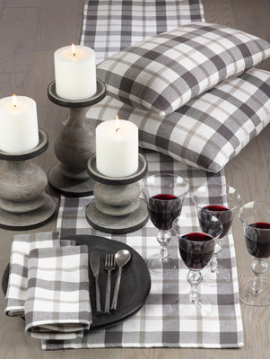 Gray & Green Plaid Table Runner