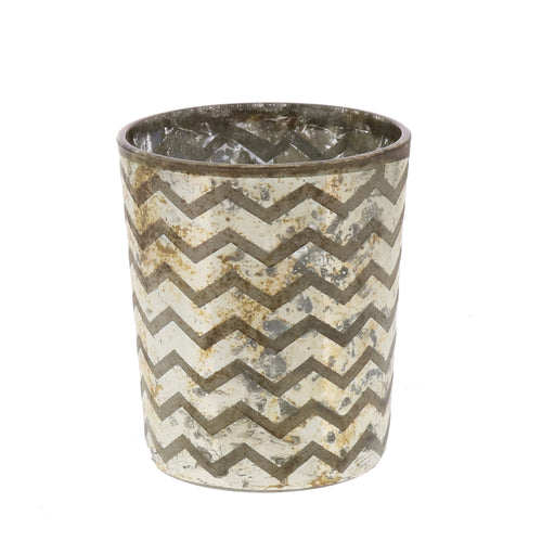 Chevron Glass Etched Votive
