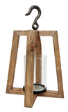 Wood Lantern with Metal Hook