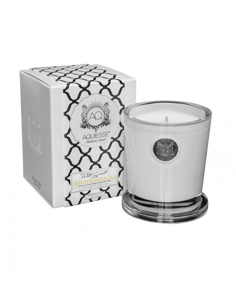WHITE GINGER LILY~LARGE SOY CANDLE by AQUIESSE