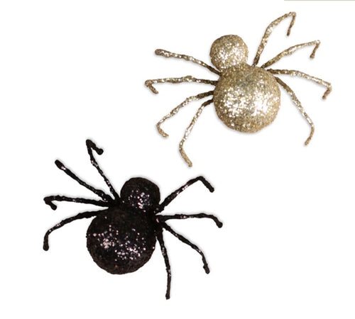 Black & Gold Glittered Spiders