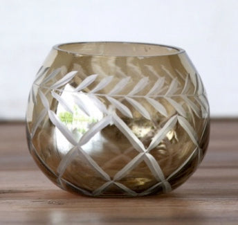 Smoky Glass Etched Round Votive