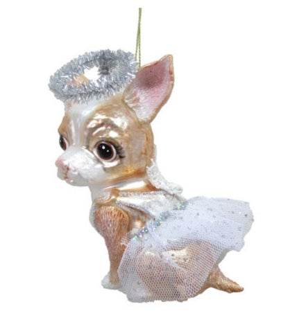 Angel Chihuahua Glass Ornament