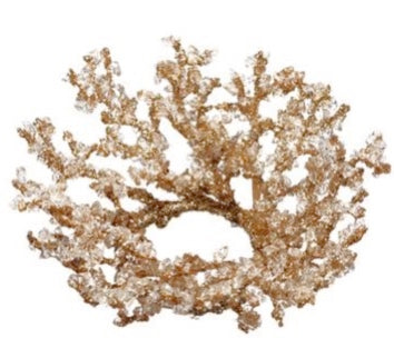 Gold Iced Twig Candle Ring - 3""