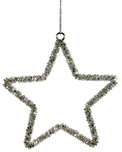Glass Beaded Silver Star Ornament