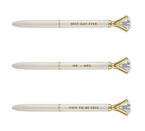 Ivory Wedding Gem Pens