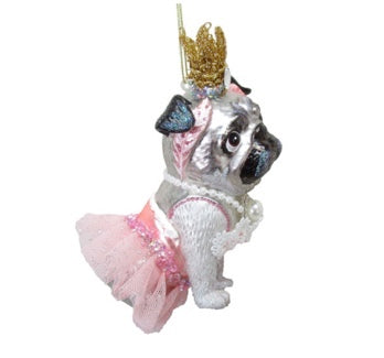 Pug as a Princess Glass Ornament
