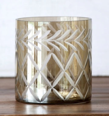 Smoky Glass Etched Votive