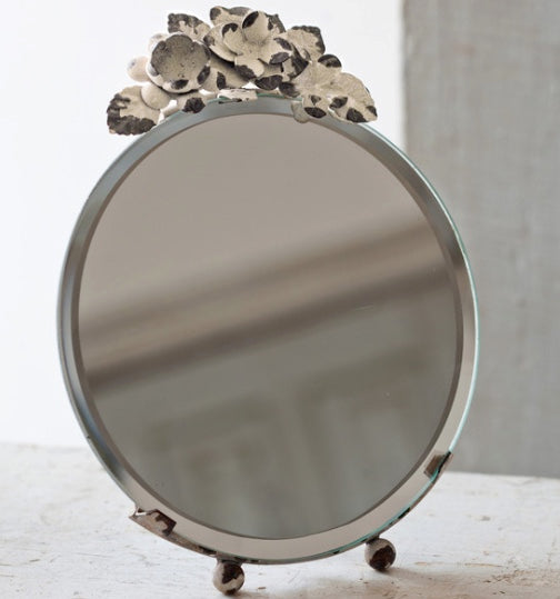 Vintage Floral Topped Mirror