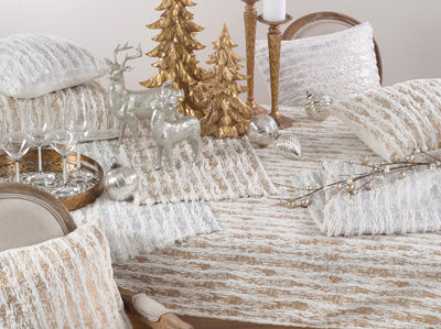 Gold & White Fur Table Runner