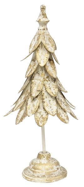 Antique White/Gold Metal Leaf Tree