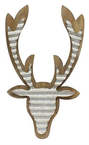 Tin & Wood Deer Head Plaque